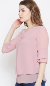 Pintuck Top with Flared Sleeves