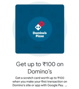 Get Upto Rs 100 on Domino's