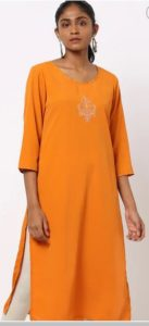 AVAASA MIX N' MATCH Straight Kurta with Floral Embroidery