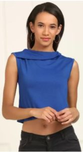 AND Casual No Sleeve Self Design Women Blue Top