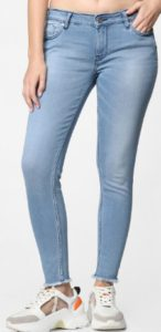 ONLY Women Blue Carmen Skinny Fit Mid-Rise Stretchable Clean Look Jeans