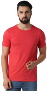 Peter England Solid Men Round Neck Red T-Shirt