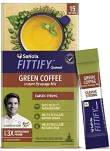 Saffola FITTIFY Gourmet Green Coffee Instant Beverage Mix for Weight Management – 30g