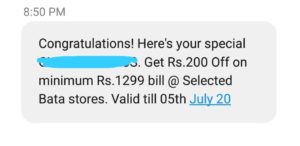 Rs 200 off on a minimum purchase of Rs 1299 at selected Bata Stores
