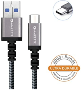 Amkette Power Pro USB 3.0 Braided Charge and Sync Fast Charging Type C Cable
