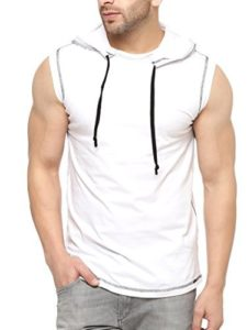 GRITSTONES White Cotton Hooded Solid Vest Rs 169 amazon dealnloot
