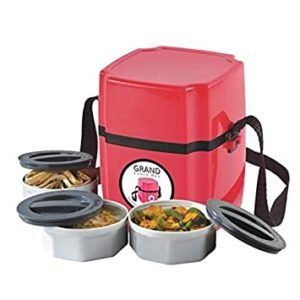 Go Hooked 3 Containers Lunch Box RED Rs 332 amazon dealnloot