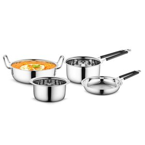 Profusion Stainless Steel Cookware 4 pcs Set Rs 1110 amazon dealnloot