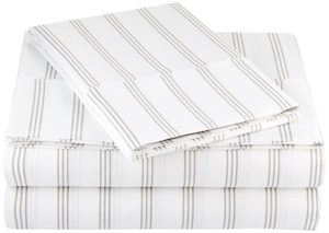AmazonBasics Microfiber Sheet Set Single Grey Stripe Rs 1009 amazon dealnloot