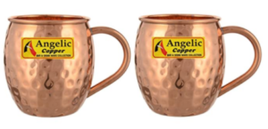 Angelic Copper Hammered Cup with Copper Handle Set, 500 ml