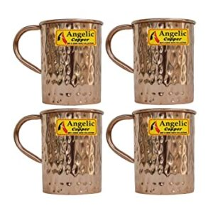 Angelic Copper Hammered Water Cup Set 400 Rs 521 amazon dealnloot