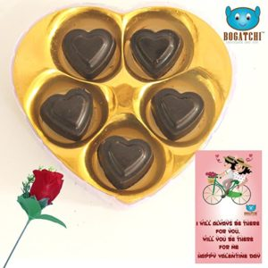 Bogatchi Chocolate Hearts 5Pcs Red Rose Greeting Rs 129 amazon dealnloot