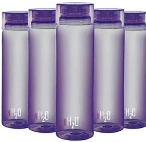 Cello H2O Round Plastic Water Bottle, 750ml, Set of 5, Purple