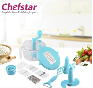 Chefstar Multi 14-Piece Manual Vegetable food processor, dough kneader, Blue