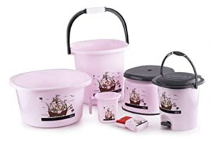 Ganesh Harmony Bathroom Set 6 pc Pink Rs 798 amazon dealnloot