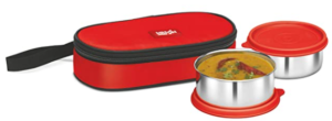 Milton Fresh Bite Softline Stainless Steel Lunch Box, 2-Pieces, 350ml, Red