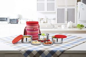 Milton Ribbon 3 Stainless Steel Lunch Box Rs 621 amazon dealnloot