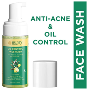 Nuray Naturals Vegan Anti Acne and Brightening Foaming Face Wash for Oily Skin