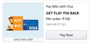 Pay bills and get flat Rs 50 back via Visa card