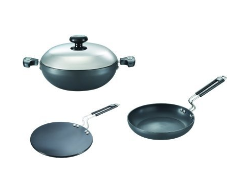 Prestige Build Your Kitchen Stainless Steel Kadhai Set, Set of 3