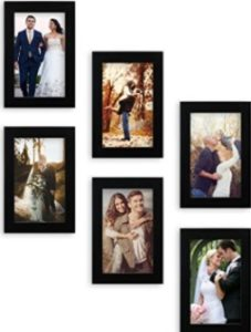 Random Photo Frames 22 cm x 17.2 cm x 14 cm, Black, Set of 6
