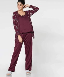 Shyla Night Suit Set with Printed Robe Rs 320 amazon dealnloot