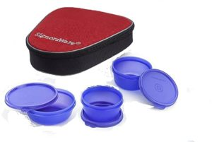 Signoraware Plastic Sleek Lunch with Bag Violet Rs 241 amazon dealnloot