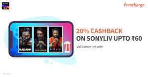20% cashback upto Rs 60 on SonyLiv subscription