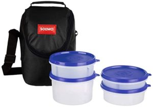 Amazon Brand Solimo Plastic Lunch Box with Rs 189 amazon dealnloot