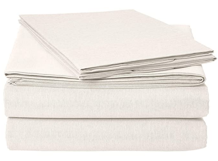AmazonBasics Chambray Bed Sheet Set - Queen, Soft Grey - with 2 pillow covers