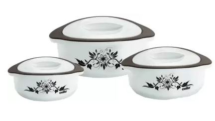 Cello Hot Meal Pack of 3 Thermoware Casserole Set  (500 ml, 1500 ml, 850 ml)