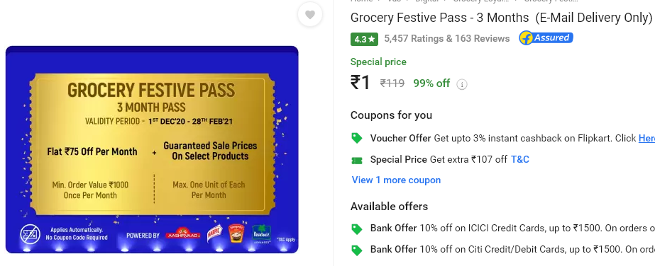 Grocery Festive Pass - 3 Months