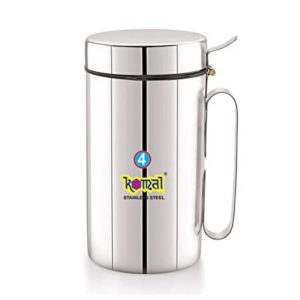 Komal White Cap Stainless Steel Oil Can Rs 298 amazon dealnloot