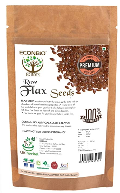 Econbioroots Certified Organic Raw Flax Seeds 250g