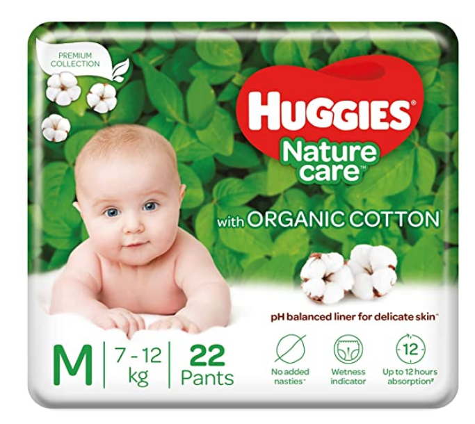 Huggies Nature Care Pants, Medium Size Diaper Pants, 22 Count