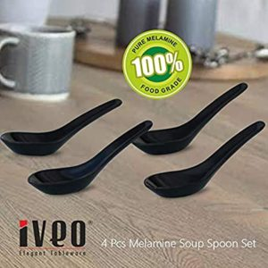 Iveo 100 Percent Melamine Soup Spoon Black Rs 99 amazon dealnloot