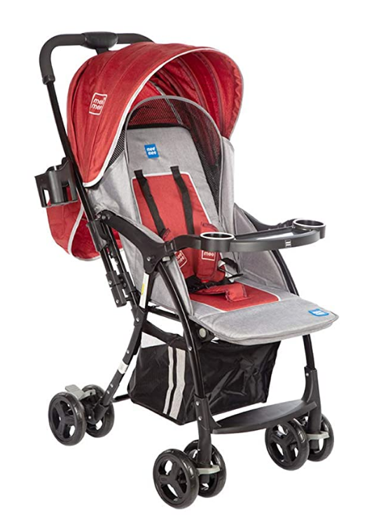 Mee Mee Baby Pram with Adjustable Seating Positions and Reversible Handle (Blush Red)