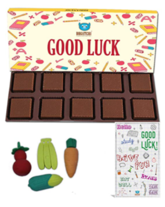 BOGATCHI Good Luck Chocolate Gift for Exams, 10pcs + Free Best of Luck Exams Card + Fruit Erasers