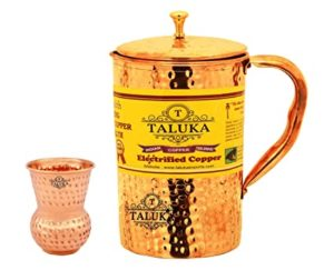 Taluka Handmade Copper Jug with Hammered Water Rs 565 amazon dealnloot
