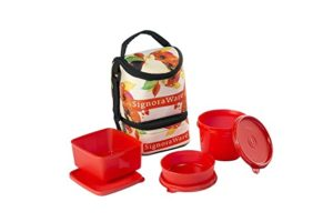 Signoraware Blossom Trio Lunch Box with Bag Rs 302 amazon dealnloot