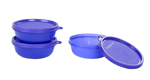 Signoraware Buddy Plastic Bowl Set, 300ml, Set of 3, Deep Violet