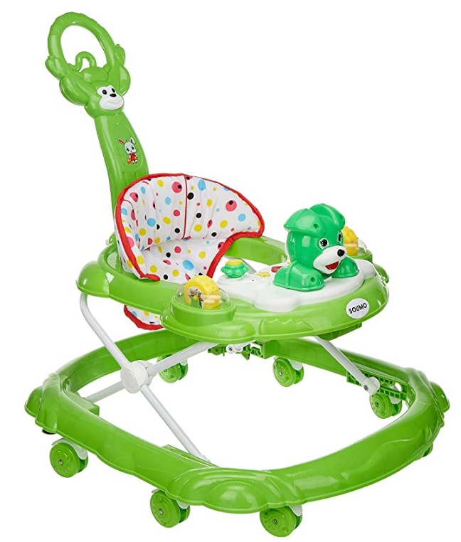 Amazon Brand - Solimo Baby Walker with Push Handle, Green