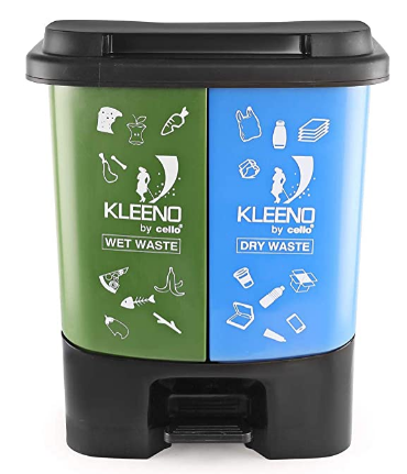 Cello Duo Plastic Pedal Dustbin for Wet and Dry Waste (35 Liters, Green and Blue)