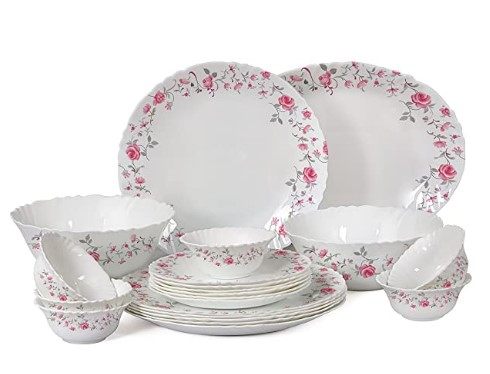 Cello Imperial Red Rose Fantasy Opalware Dinner Set, 21 Pieces