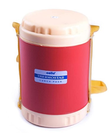 Cello Thermostar Insulated 3 Container Lunch Carrier, Red