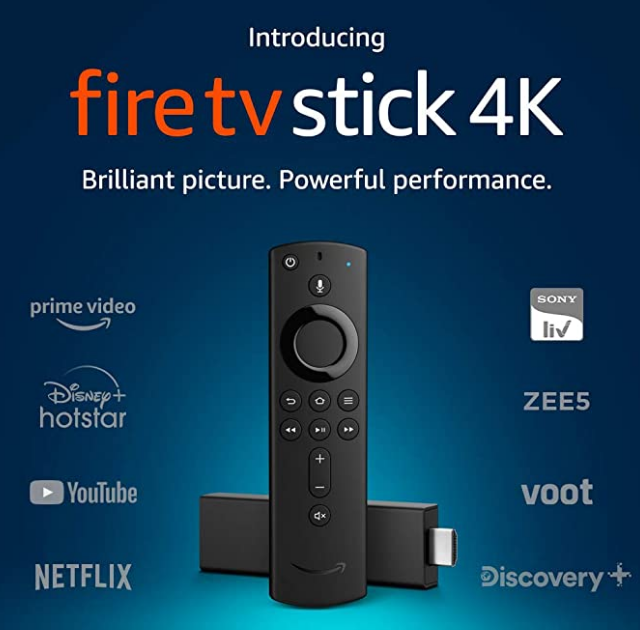 Fire TV Stick 4K with Alexa Voice Remote Stream in 4K resolution