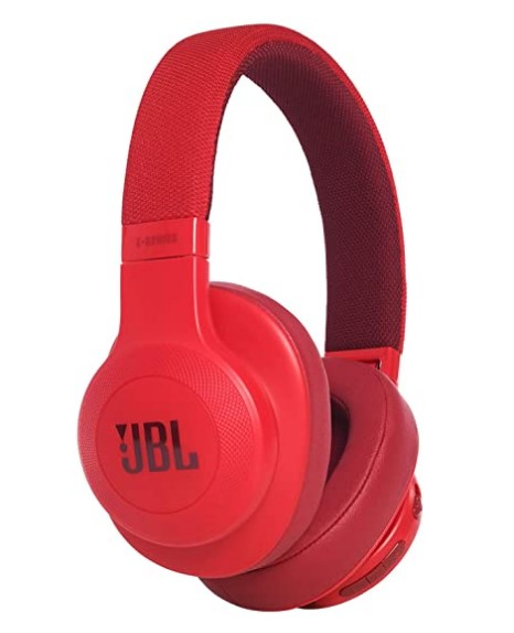 JBL E55BT Wireless Over-Ear Headphones with Mic (Red)