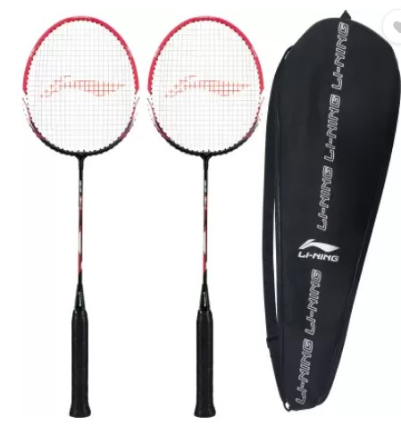 LI-NING XP-60-IV ( strung ) - Pack of 2 With 1 full cover Black