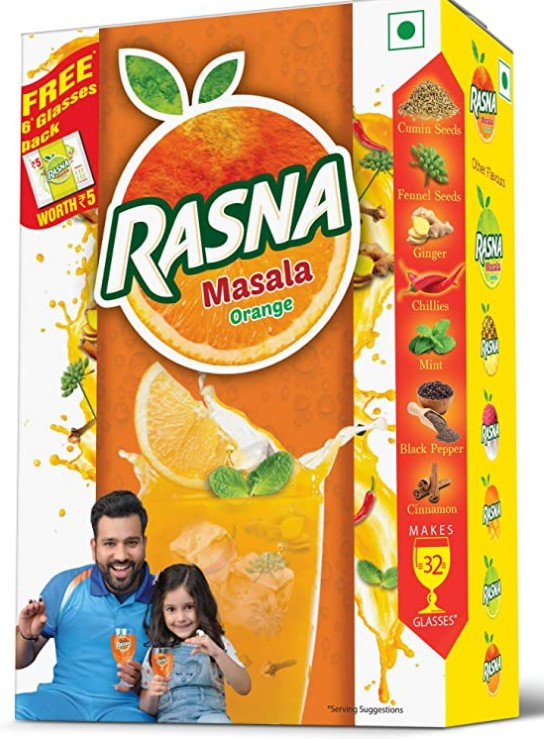 Rasna Fruit Fun 32 Glass monocarton, Masala Orange Pack of 5