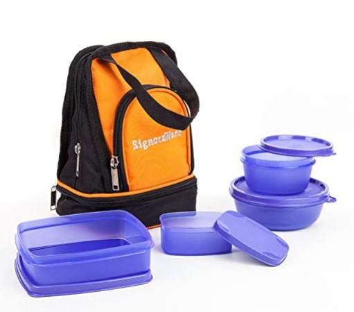 Signoraware Carry Plastic Lunch Box with Bag, Violet